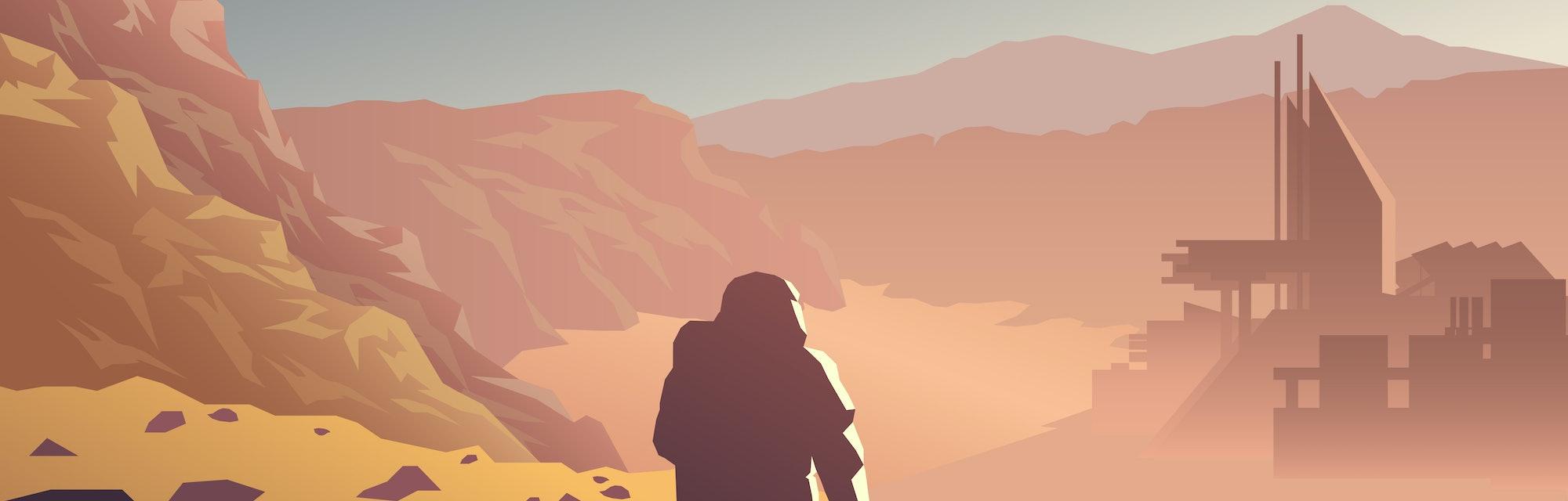 Mars colonization futuristic landscape with colony base and astronaut illustration