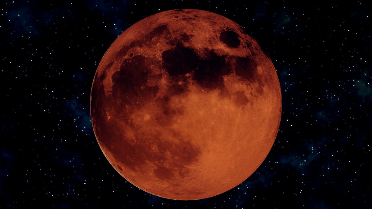 Realistic 3D illustration of full lunar eclipse. Blood moon wax and wane through all lunar cycles: New moon, crescent, half, gibbous and full moon. Earth satellite concept in 4k. Alpha matte