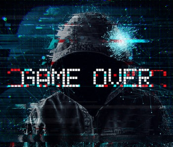 Game over concept with hooded video gamer and glitch effect