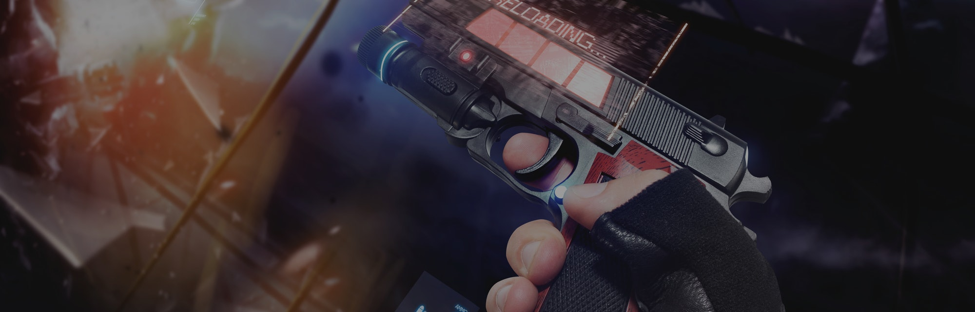 Hand in gloves holding a reloading handgun. First person view hand in black leather gloves holding a futuristic neon fantasy reloading handgun with neon red and blue indicators.