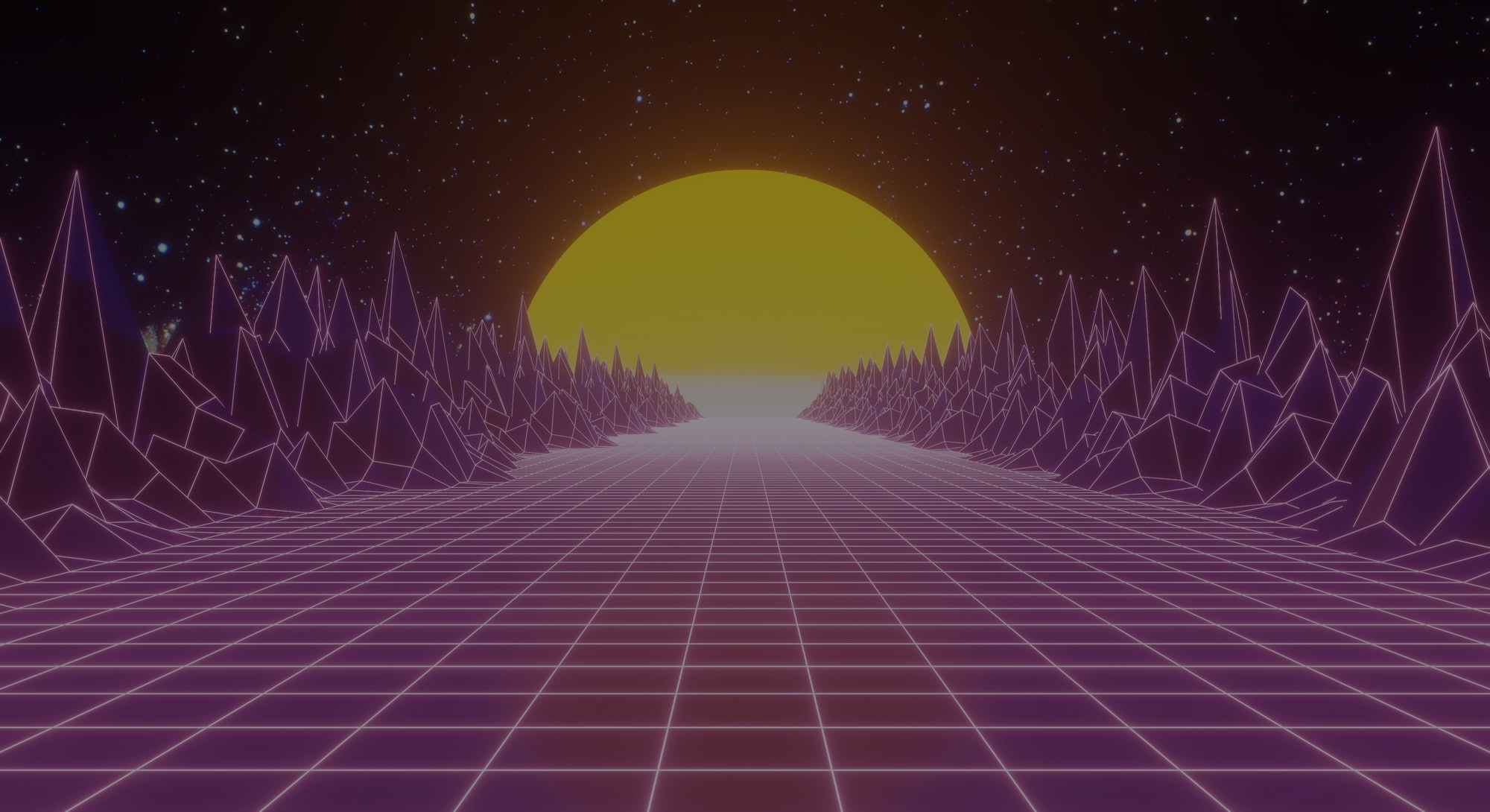 Retro 80s video game tunnel background with mountains and sun 8bit depth of field
