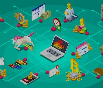 Finance, crypto business income illustration. Startup symbol. Mining currency with blockchain for business. Clipart or stickers for web banner, infographics, hero images. Flat isometric vector.