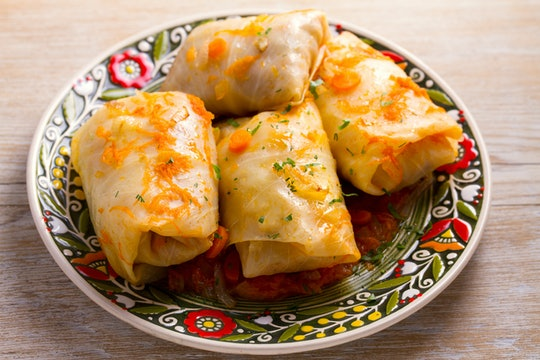 Cabbage rolls with beef, rice and vegetables. Stuffed cabbage leaves with meat. Dolma, sarma, sarmale, golubtsy or golabki. horizontal