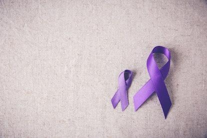 Purple ribbons toning copy space background, Alzheimer's disease, Pancreatic cancer, Epilepsy awareness, Hodgkin's Lymphoma awareness