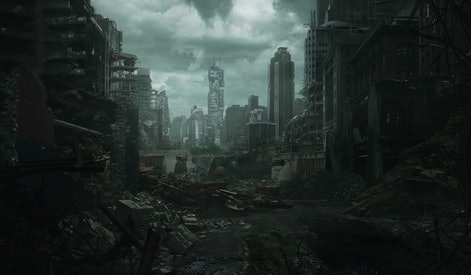 2d digital illustration of a destroyed city.