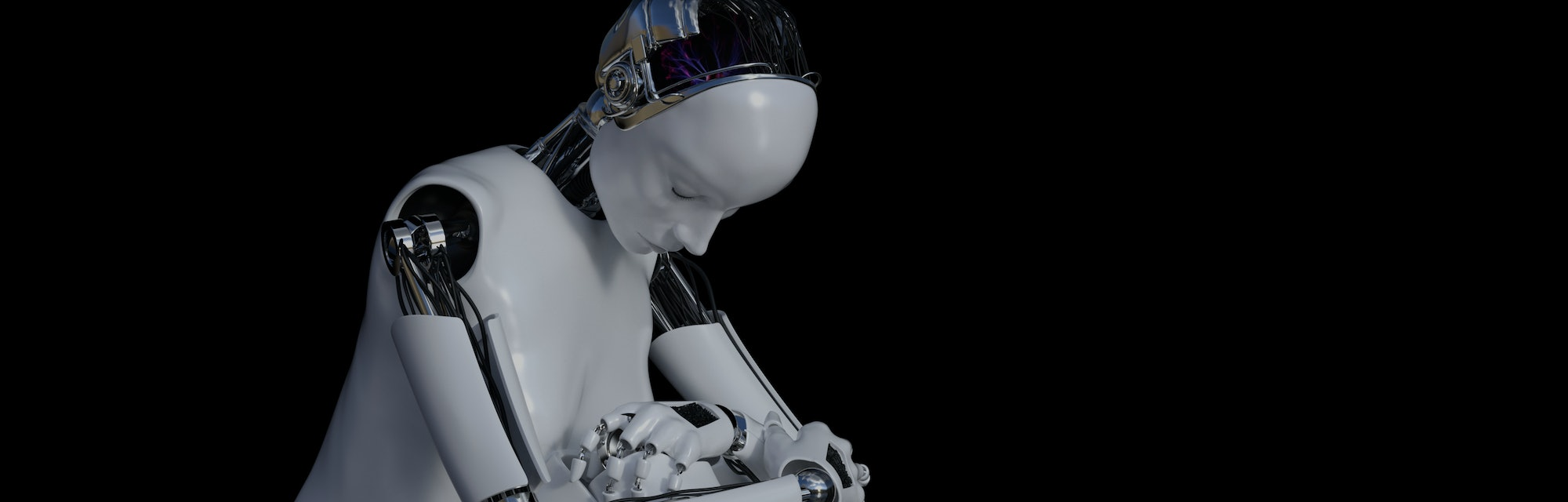3D rendering of a female robot sitting in solitude on the floor and looking sad or depressed. Black background.