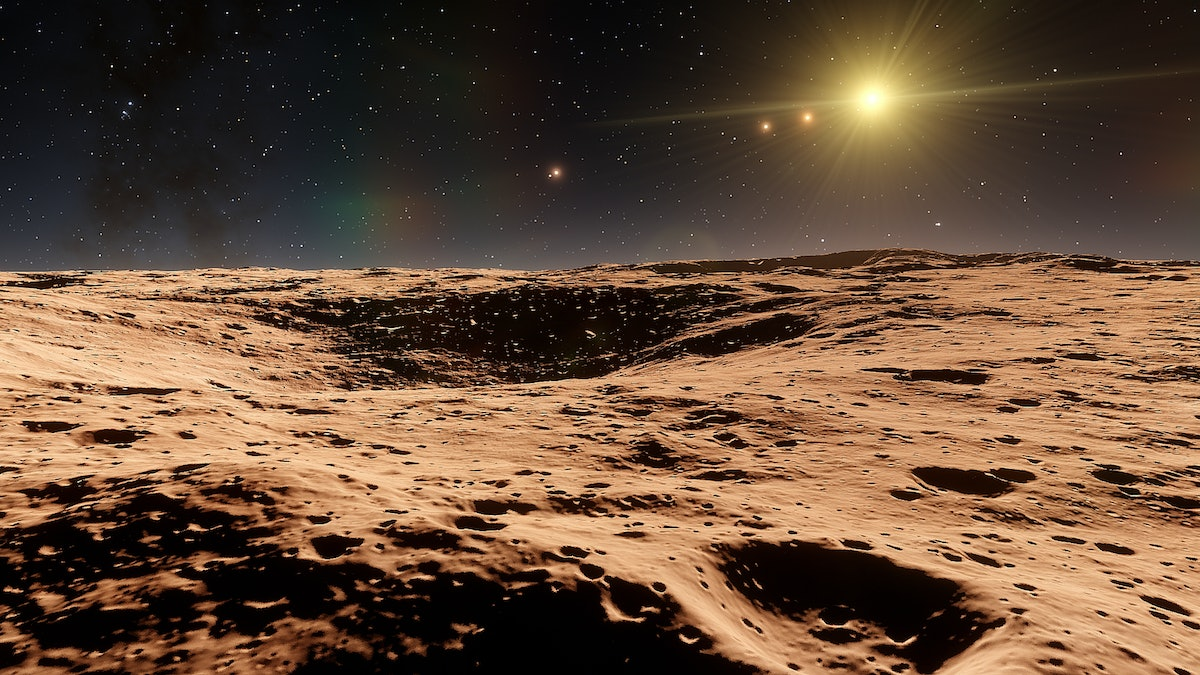 realistic surface of an alien planet, view from the surface of an exo-planet, canyons on an alien pl...