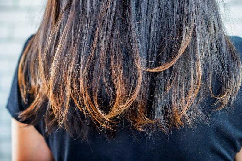 closeup woman damaged hair split ends