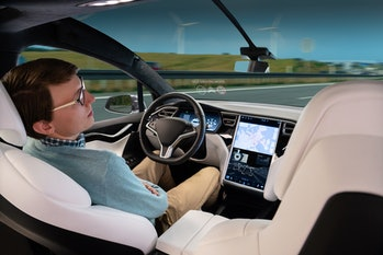 A man sleeps while his car is driven by an autopilot. Self driving vehicle concept