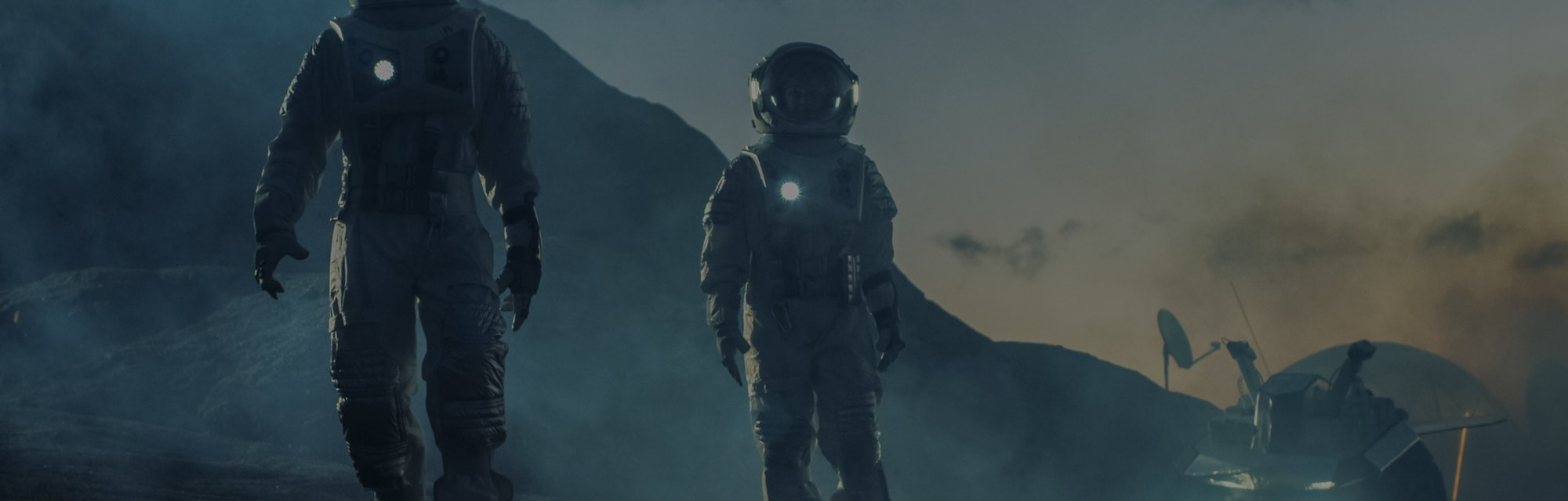 Two Astronauts in Space Suits Confidently Walking on Alien Planet, Exploration of the the Planet's S...