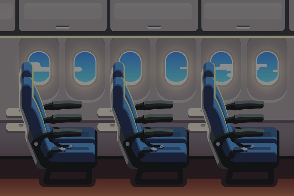 Economy class airliner seats row with portholes. Jet plane airline empty vacant seats. Flat style vector isolated illustration