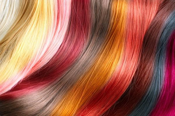Hair Colors Palette. Hair Texture background, Hair colours set. Tints. Dyed Hair Color Samples