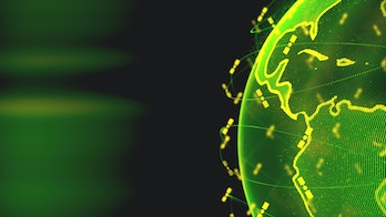 Digital earth data globe - abstract 3D rendering satellites starlink network connection the world. satellites create oneweb or skybridge surrounding planet conveying complexity big data flood the