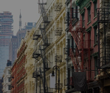 Long row of colorful buildings in the Soho neighborhood of Manhattan, New York City