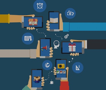 vector interaction mobile apps infographics with human head and hands with smartphones