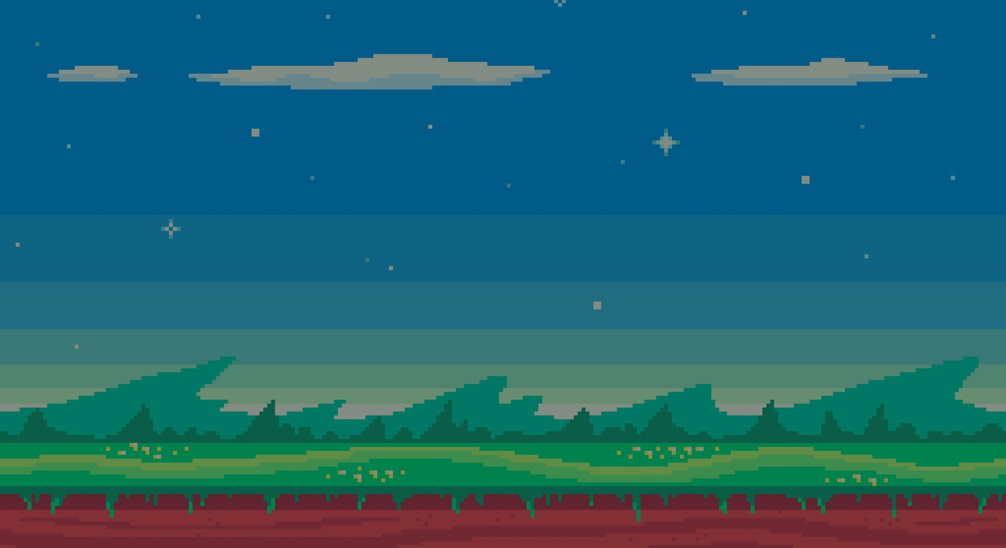 Cute meadow area with clouds, stars and mountains. Pixel art game location. Seamless vector background.