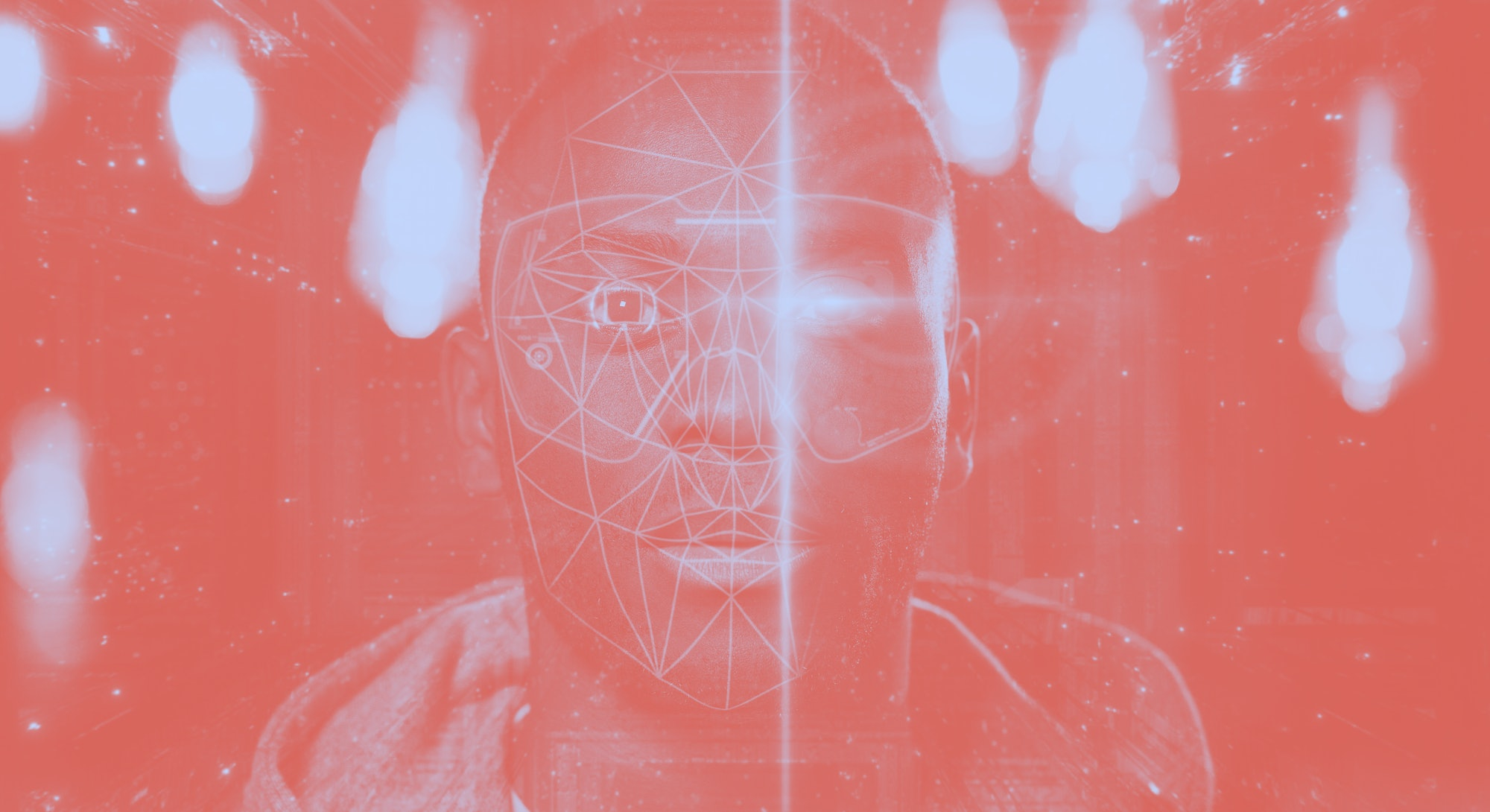 Futuristic and technological scanning of the face of a young african man for facial recognition and ...