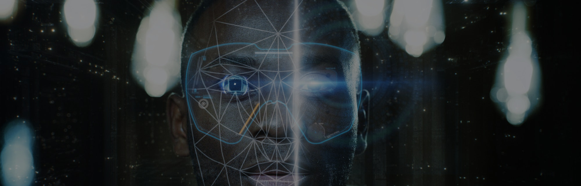 Futuristic and technological scanning of the face of a young african man for facial recognition and scanned person. Concept of  future, security, scanning, personal safety.