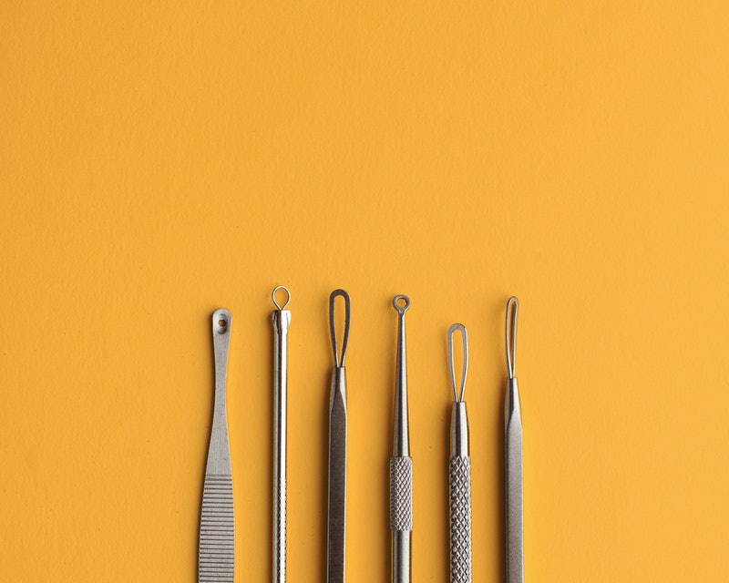 Cosmetic tools for manual cleaning of the face of problem skin place for text. The concept of cosmetology, skin care.