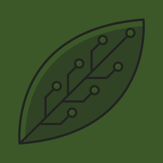 Green leaf with microchip color icon. Smart agriculture. Green information technology. Organic chemistry. Nanotechnology and microelectronics. Biotechnology development. Isolated vector illustration