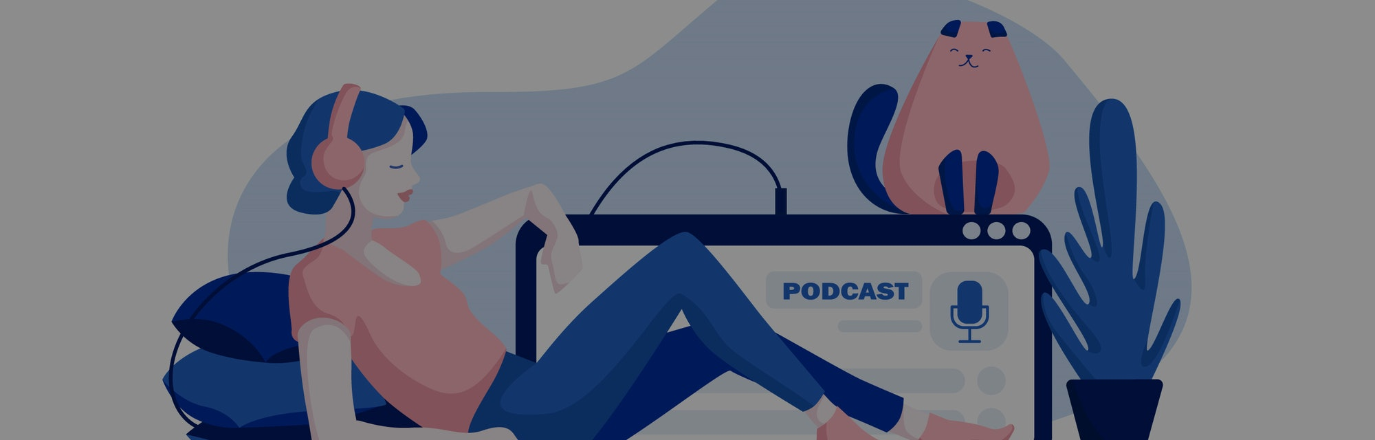 Podcast concept illustration. Webinar, online training, tutorial podcast concept. Young female listening to podcasting sitting on the floor of the house. Vector illustration.