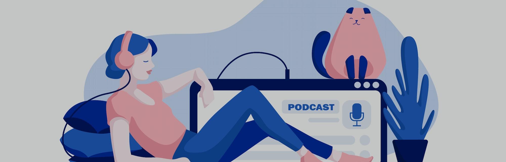 Podcast concept illustration. Webinar, online training, tutorial podcast concept. Young female liste...