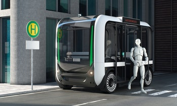 Autonomous bus with passenger exiting on bus stop normal perspective with empty sign 3d illustration