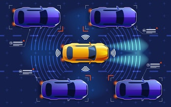 Autonomous electro smart car goes on the road in traffic. Scans the road, observe the distance. Future concept