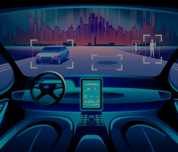 Autinomous smart car inerior. Self driving at night city landscape. Display shows information about the vehicle is moving, GPS, travel time, scan distance Assistance app. Future concept