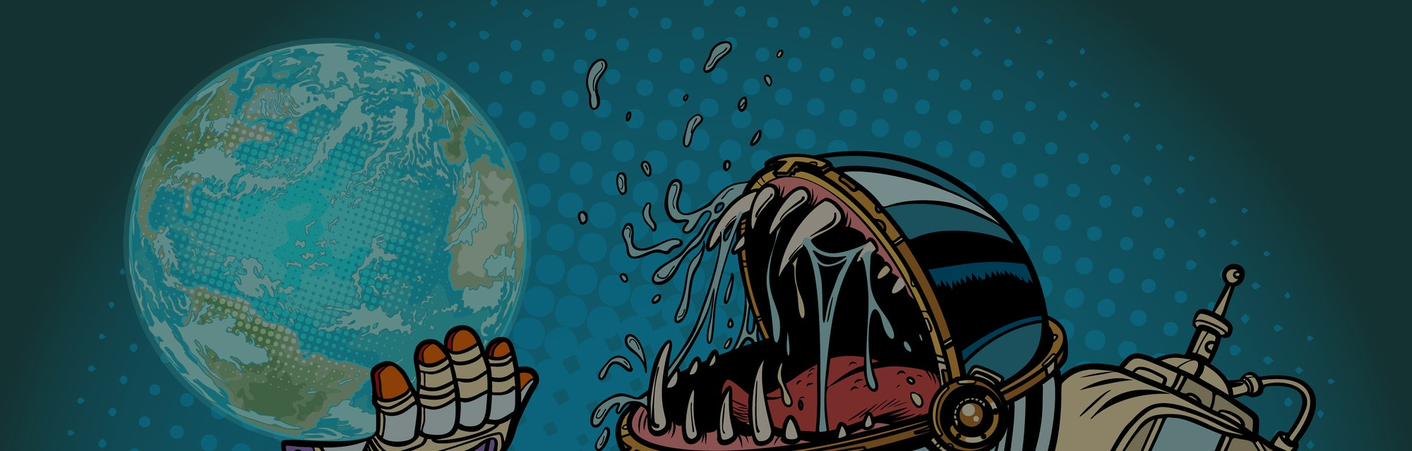 Astronaut monster eats earth planet. Greed and hunger of mankind concept. Pop art retro vector illus...