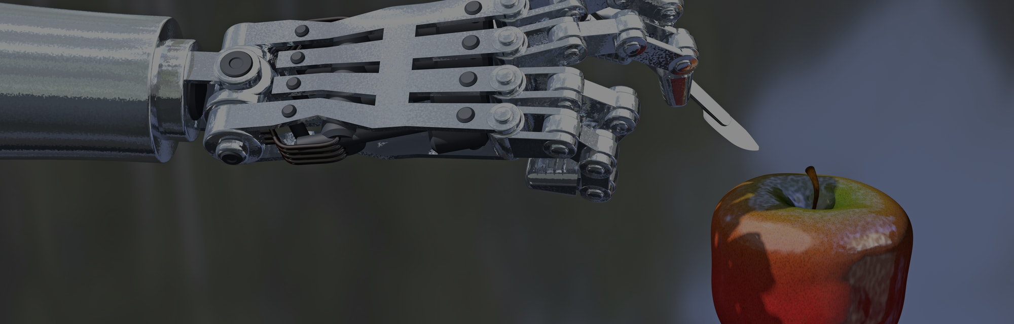 3D illustration of a robot hand holding a scalpel about to cut into an apple, reflective surface for dramatic effect. Metaphor for increasing use of technology to manipulate the food supply.