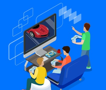 Flat isometric 3d happy young man friends playing playstation console, room interior vector illustration. Online gaming concept. Isometry male croup gamer having fun car racing competition