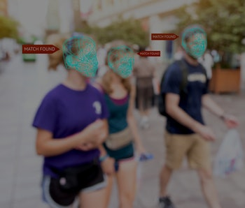 Machine learning systems , artificial intelligence (ai) and accurate facial recognition detection technology concept. Blur people with search match found application.