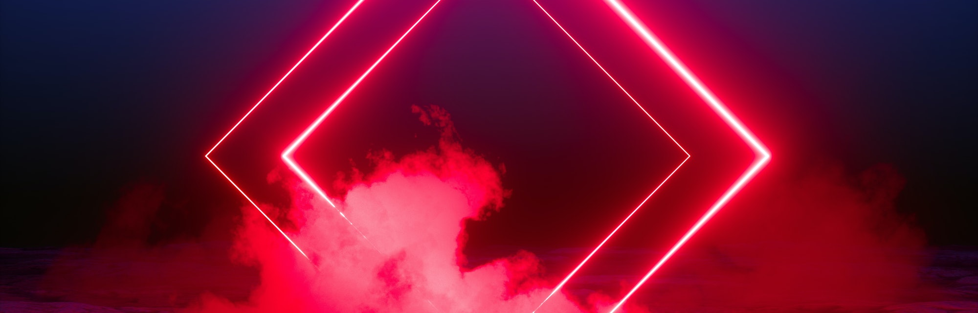 3d render, abstract background, square portal, red neon lights, virtual reality, glowing lines, pink...