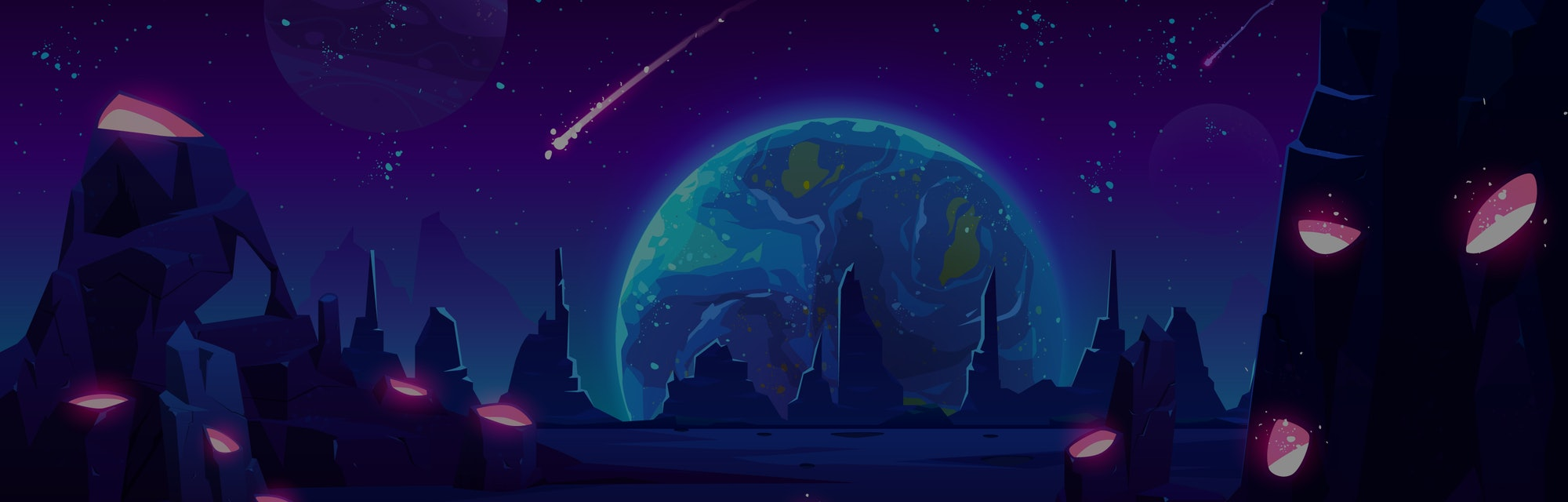 Earth view at night from alien planet, neon space background with falling meteor in dark starry sky,...