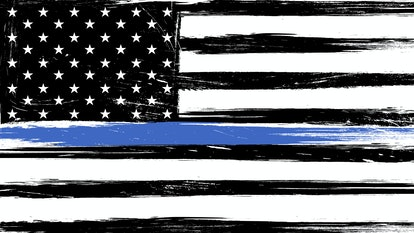 Grunge USA flag a with thin blue line - a sign to honor and respect american police, army and milita...