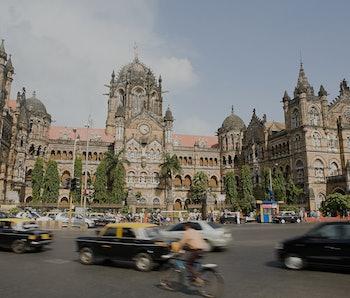 Busy street scene at the Chhatrapati shivaji terminus