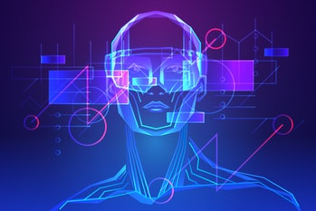 Man wearing augmented reality glasses. Abstract holography with data and graph. Vector illustration