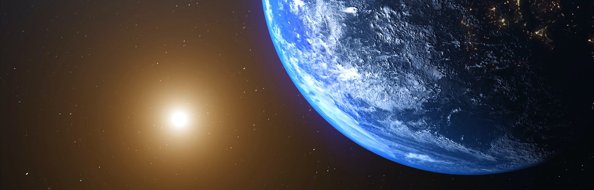 World and sun realistic 3D rendering. Shiny sunlight over Planet Earth, cosmos, atmosphere. Shot from Space satellite