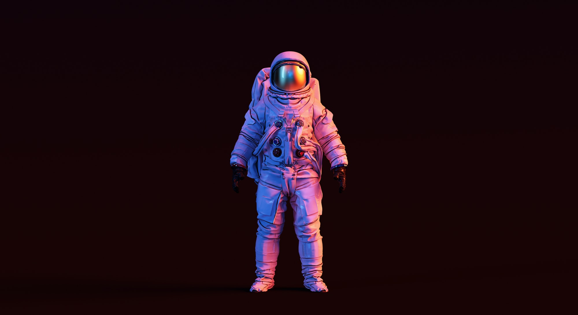Astronaut with Gold Visor and White Spacesuit with Pink and Blue Moody 80s lighting Front 3d illustr...