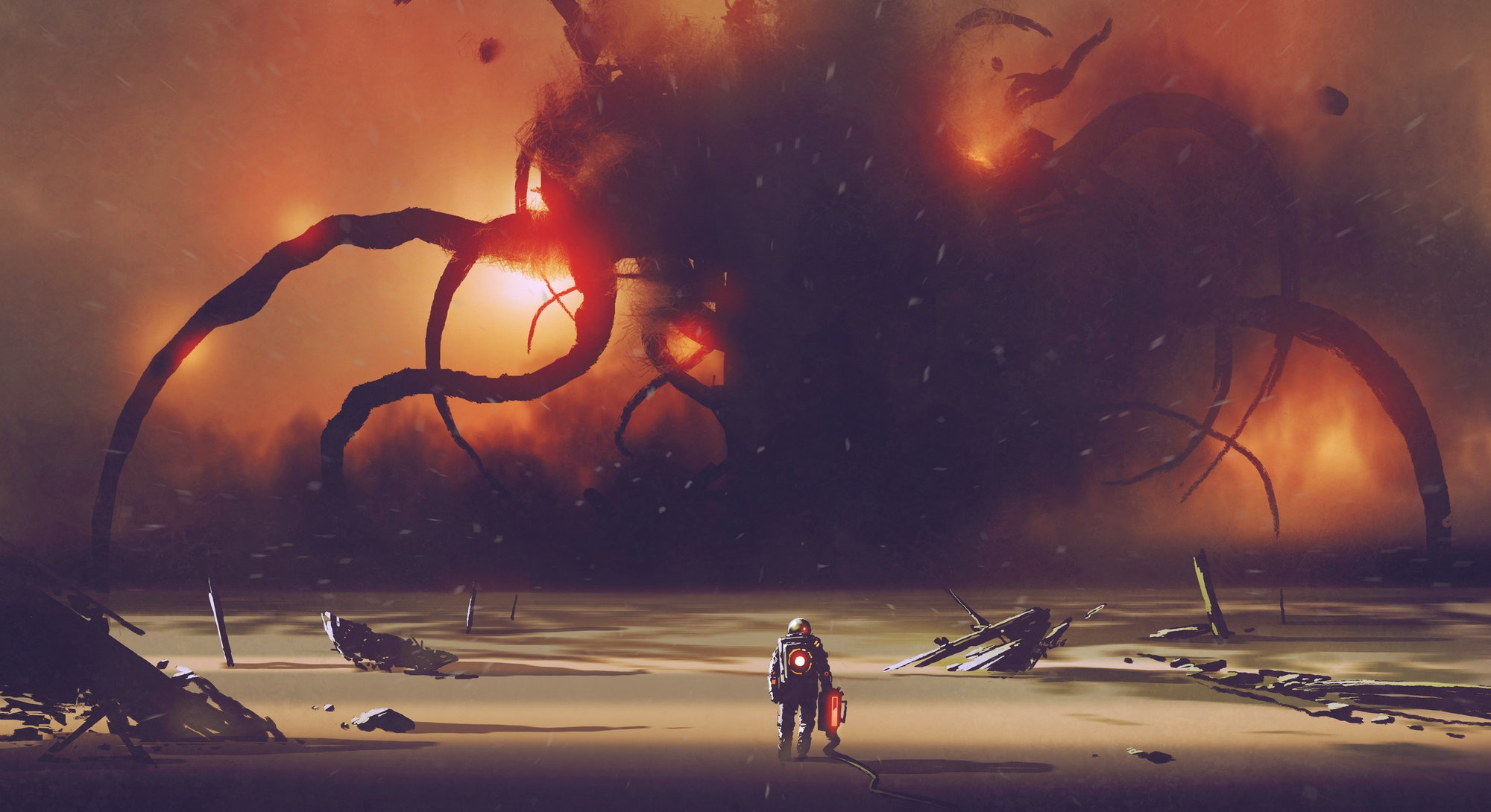 astronaut with a tech device heading to the giant monster at the horizon, digital art style, illustration painting
