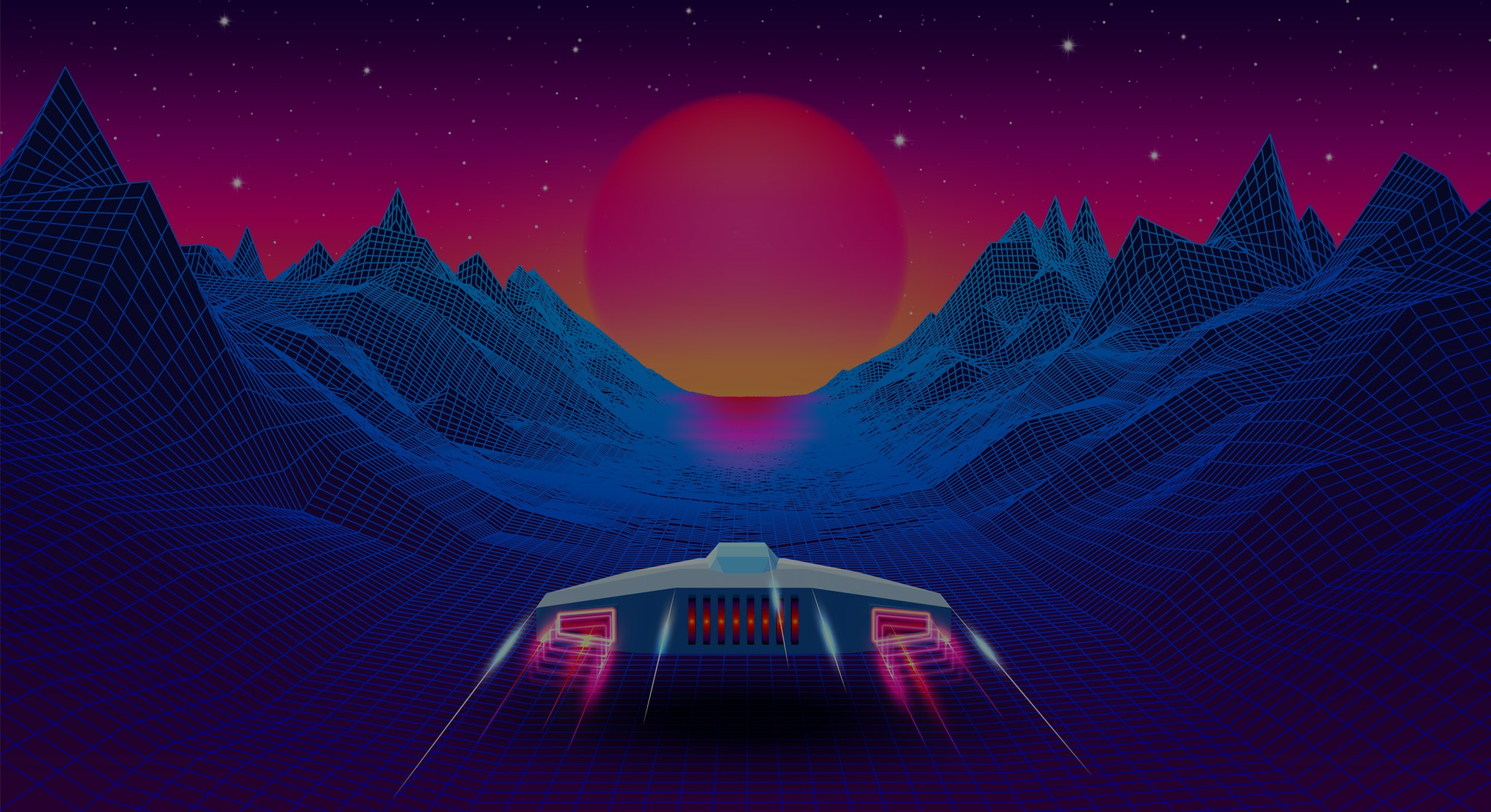 Arcade space ship flying to the sun in blue corridor or canyon landscape with 3D mountains, 80s style synthwave or retrowave illustration