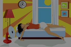 Young woman exhausted from heat lying on a bed in her house in a hot summer day, EPS 8 vector illustration