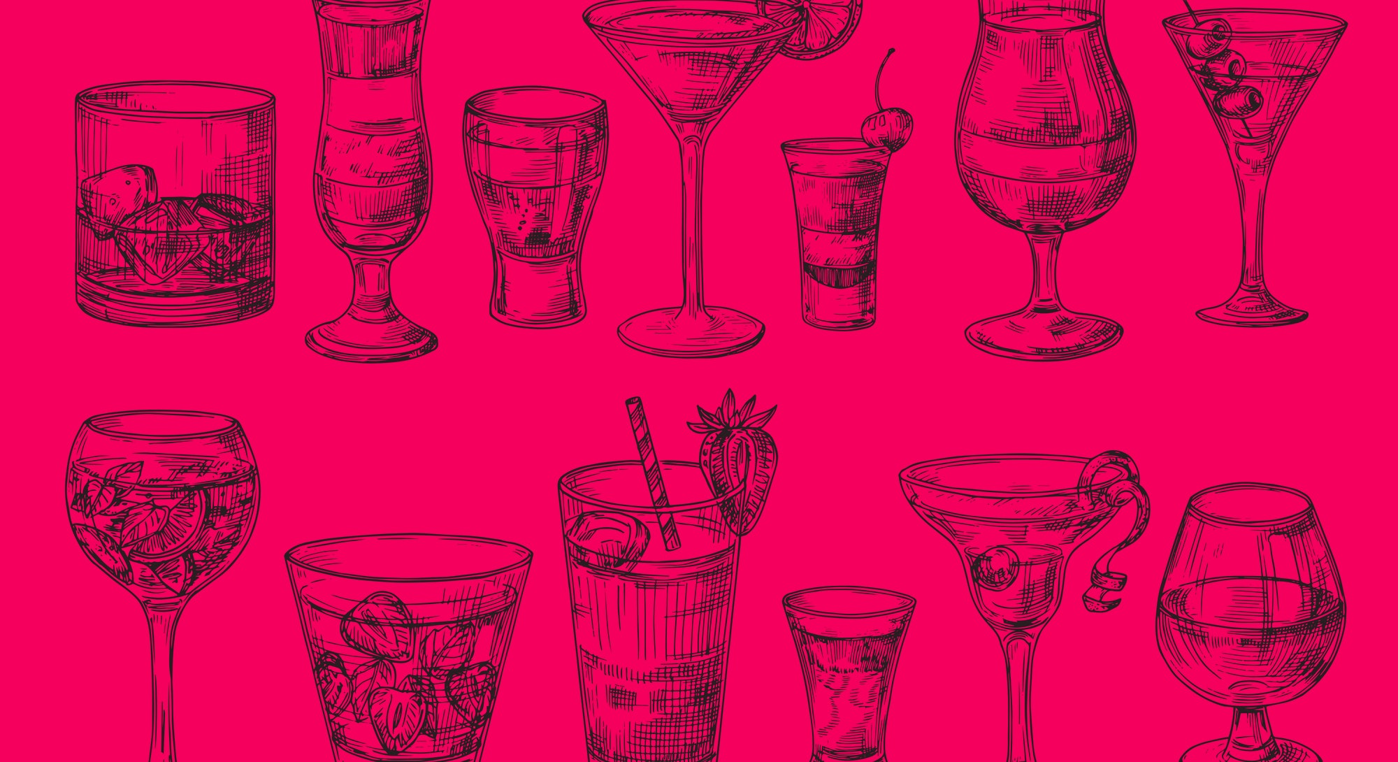 Hand drawn cocktail. Alcoholic drinks in glasses. Sketch juice, margarita martini. Cocktail with rum...