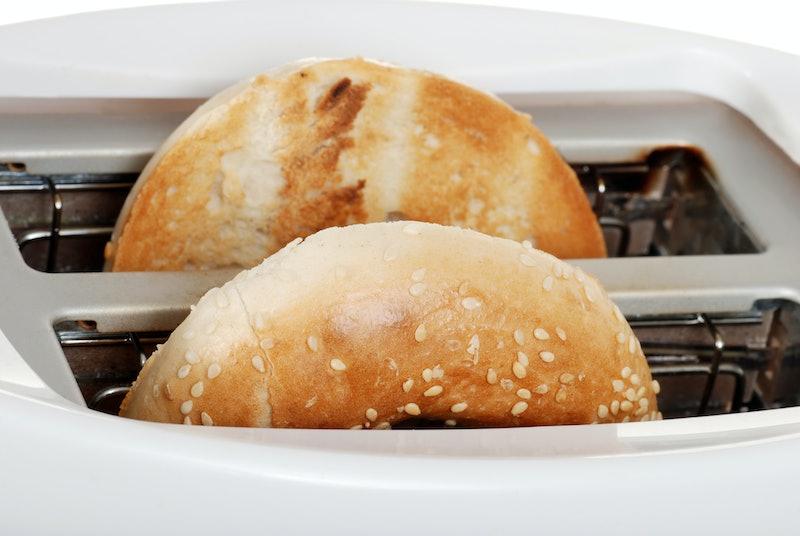 closeup toasted bagel
