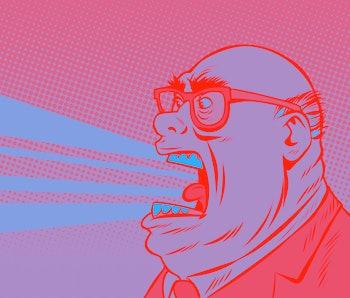angry boss yells. Comic book cartoon pop art retro illustration