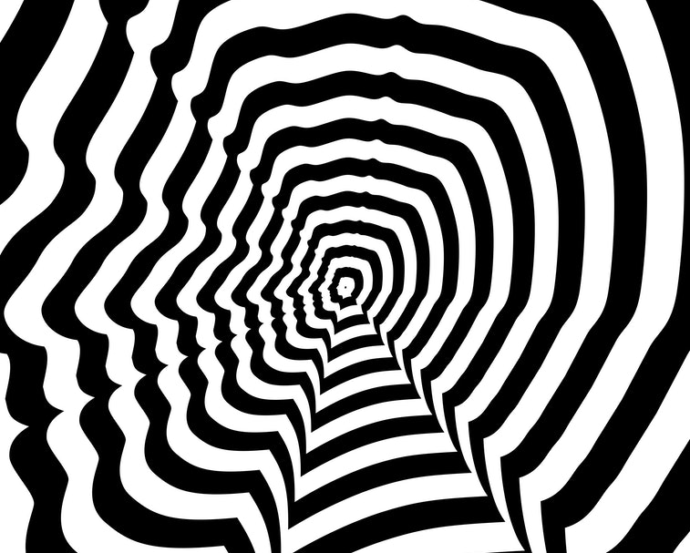 Concentric oncoming abstract symbol, Mark Zuckerberg profile - optical, visual illusion. Steven Jobs...