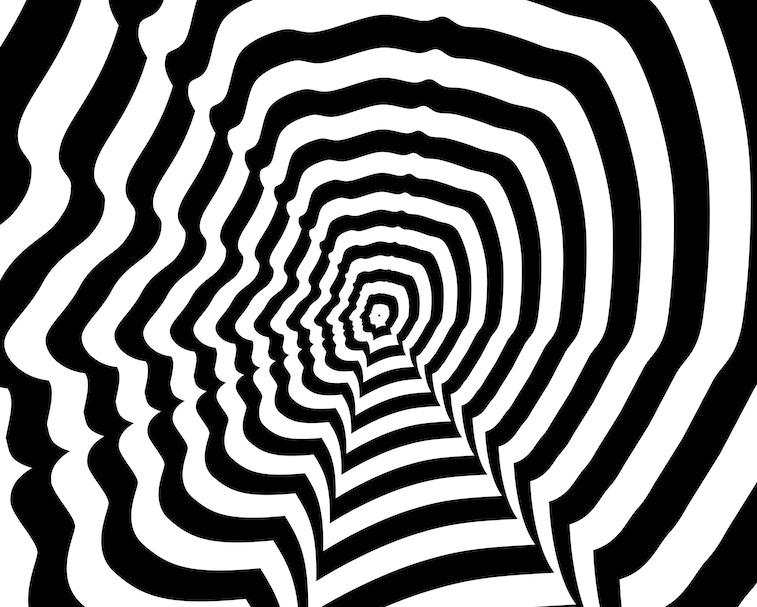 Concentric oncoming abstract symbol, Mark Zuckerberg profile - optical, visual illusion. Steven Jobs profile