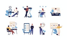 Collection of people successfully organizing their tasks and appointments. Set of scenes with effici...