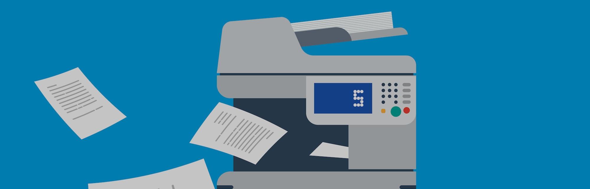 Office Multi-function Printer  scanner.  Isolated Flat Vector Illustration